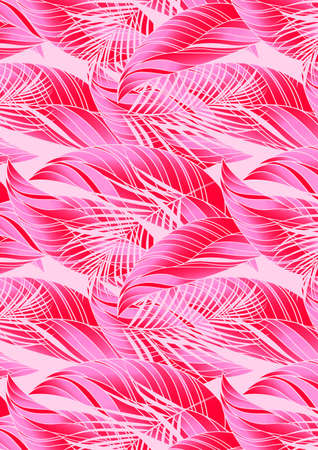 foliage  natural: Red and pink tropical leaves in repeat pattern . Illustration