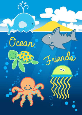ocean cartoon: Ocean friends swimming under the sea with island . Illustration