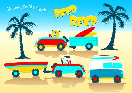 beep: Animals driving to the beach beep beep . Illustration