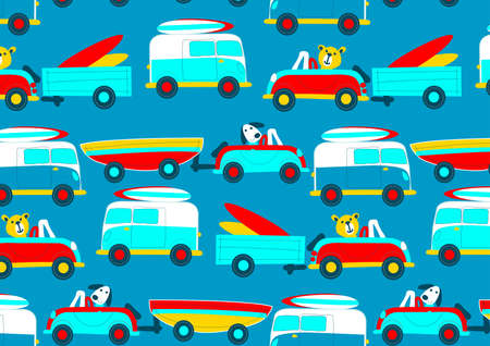 beep: Animals driving to the beach beep beep repeat pattern .