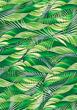 fern leaf: Green tropical palm and plant leaf repeat pattern .
