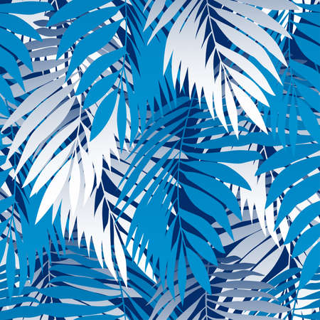 tropical garden: Blue palm leaves in a seamless pattern .