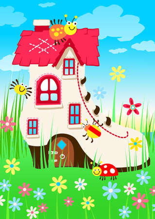 patchwork landscape: Shoe house with bugs and flowers . Illustration