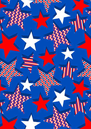 Stars with stripes and dots repeat pattern . Illustration