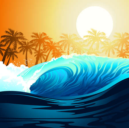 Tropical surfing wave at sunrise with palm trees .