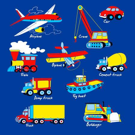 tug boat: Transport illustration set on blue background .
