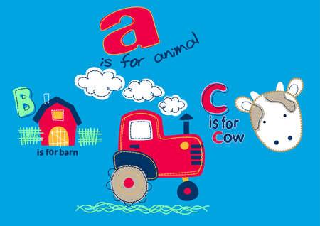 b: On the farm with A B C . Illustration
