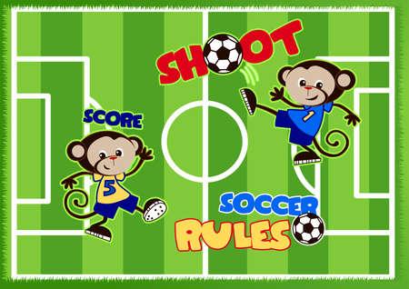 soccer field: Soccer monkeys playing on a green sports field .