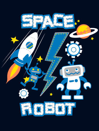 blast off: Space robot with rocket planet embroidery . Illustration