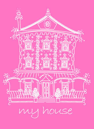 front porch: Pretty lace doll house on pink background .
