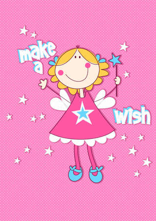 pink dress: Make a wish with girl on spotted background .