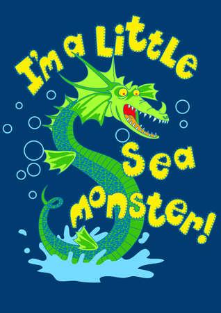 green dragon: Sea monster splashing in some water .