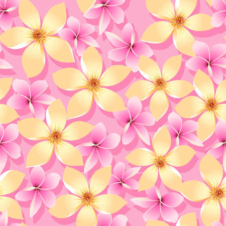 pink wall paper: Pink and orange tropical flowers seamless pattern .