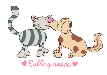 rubbing noses: Cat and dog rubbing noses illustration .