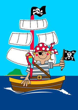 animal skull: Pirate boy sailing on ship with parrot .