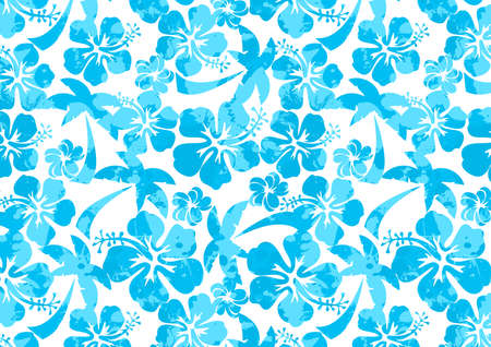 aqua flowers: Hibiscus and palm tree in a repeat pattern .