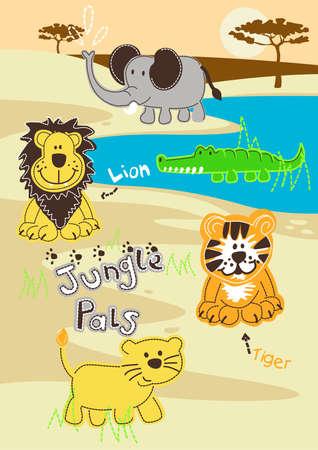 pals: Jungle pals wild animals in Africa . Illustration