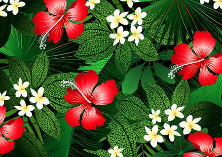 Detailed tropical flowers and plants illustration .