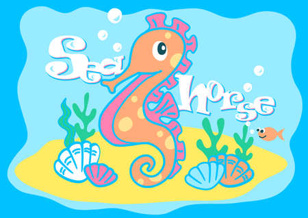 swims: Baby seahorse swimming under the sea . Illustration