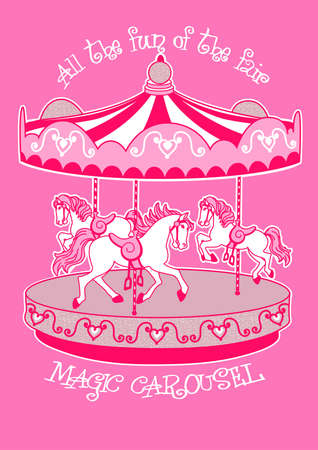 carousel: Magic carousel with white horses . Illustration