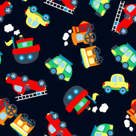 fire truck: Cute little vehicles in a seamless pattern