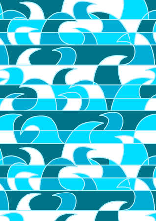 stipe: Blue abstract waves in a repeat pattern . Illustration