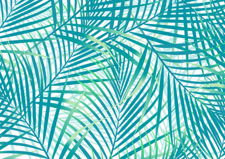 blue green background: Green and blue palm leaves background . Illustration