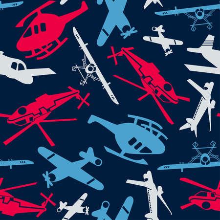 飛行機とヘリコプターがシームレスなパターンで。  イラスト・ベクター素材