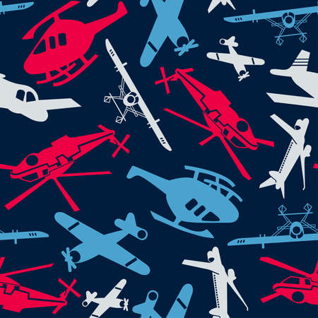 seamless pattern: Planes and helicopters in a seamless pattern .