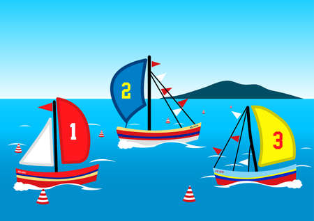 Three sailing boats race on the water .