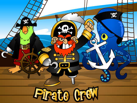 pirate crew: Pirate crew with the Captain on a ship deck .