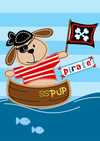 pup: Pirate pup sitting in a boat embroidery .