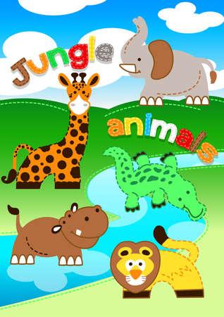 animales de la selva: Animales de la selva linda que se coloca a lo largo de un río.