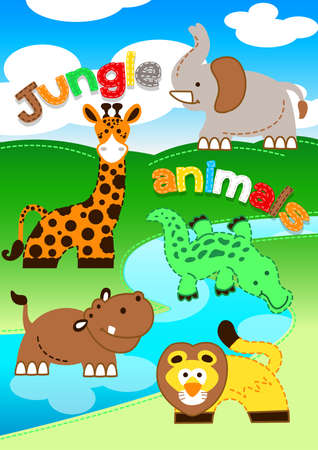 water stream: Cute jungle animals standing along a river . Illustration