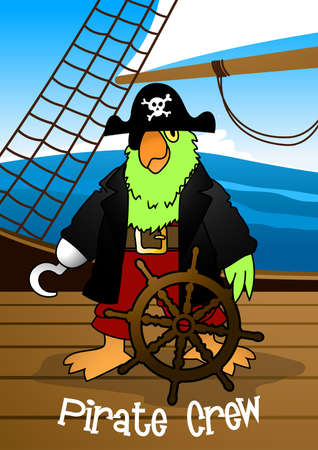 pirate crew: Pirate crew parrot with hook steering the ship .