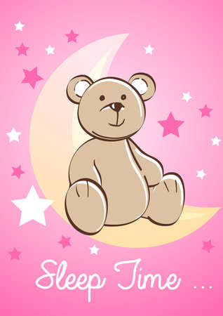 female animal: Teddy bear sitting on a moon with stars . Illustration