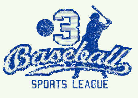 sports team: Mid blue baseball distressed print with player . Illustration