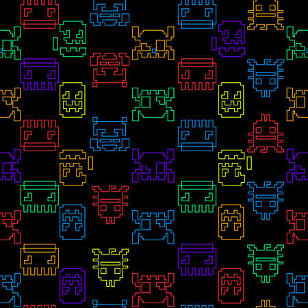bytes: Computer game graphic seamless pattern on a black background.