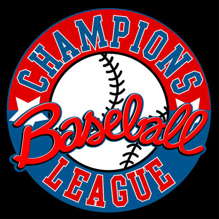 league: Baseball Champions league sign with ball .
