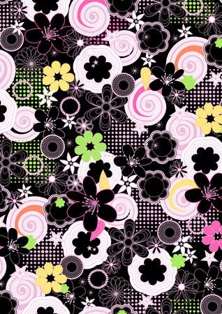 fashion girl: Abstract girls floral on a black background.