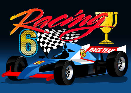 Open wheel blue racing car with trophy and flag .
