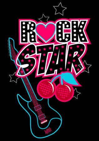 Rock star poster with guitar and abstract cherries . Illustration