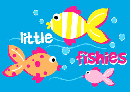 sea creatures: Three little fishies swimming in the sea . Illustration