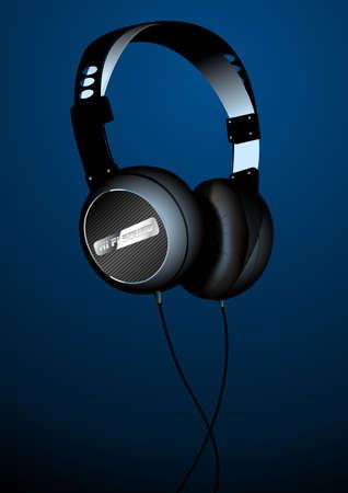 headset: Hi-tech sound headset on a blue background .