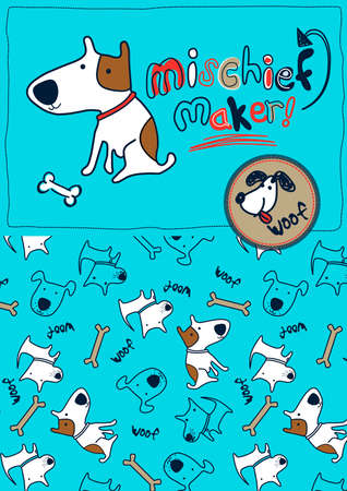 mischief: Mischief maker puppy dog woof . Illustration