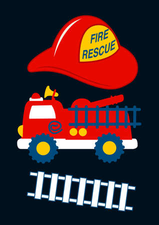 fire fighting equipment: Fire Rescue with red helmet and truck . Illustration