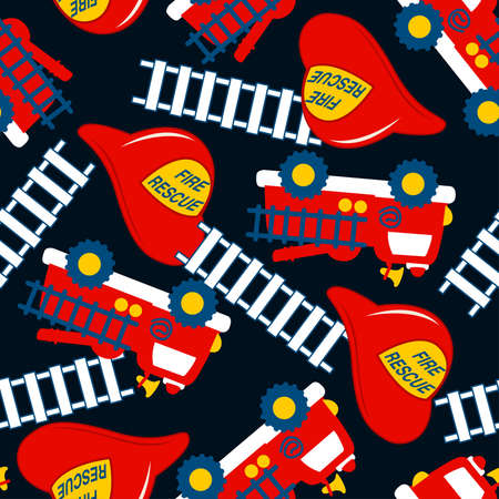 fire truck: Fire Rescue with red helmet and truck seamless pattern .