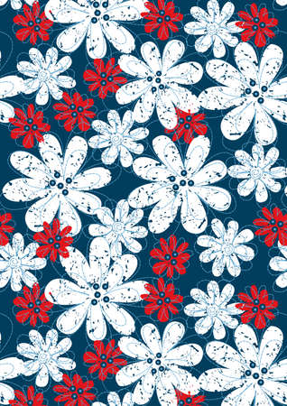 red white blue: Red and white floral flowers with blue stitching .