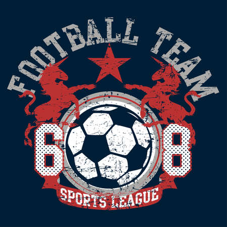Soccer football sports league team with unicorns . Иллюстрация