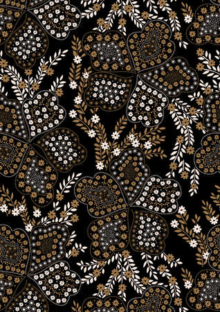Floral pattern embroidery on a black background .